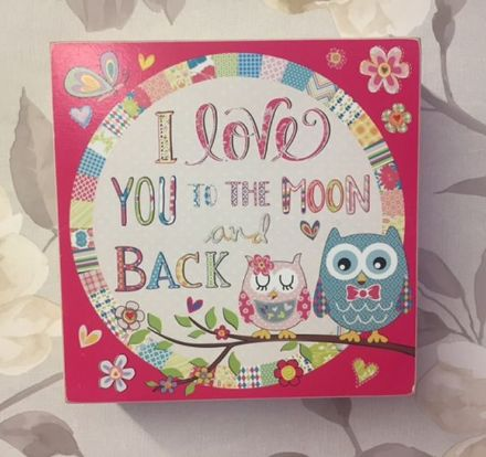 I Love You To The Moon and Back ~ Cute Owl Freestanding or Wall Hanging Plaque